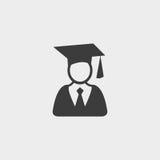 Icône d'étudiant d'obtention du diplôme dans une conception plate dans la couleur noire Illustration EPS10 de vecteur Image libre de droits