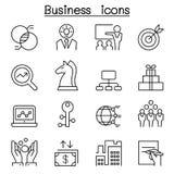 Icône d'affaires réglée dans la ligne style mince Photos libres de droits