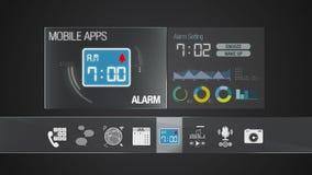 Icône d'alarme pour le contenu mobile d'application Diverse fonction d'application pour le dispositif intelligent Application d'a illustration de vecteur
