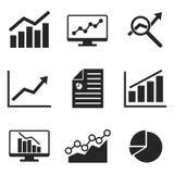 Icône d'Analytics réglée sur le style plat Photos stock