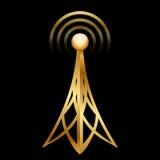 Icône d'antenne d'or illustration stock