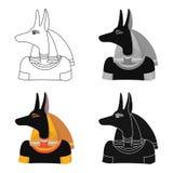 Icône d'Anubis dans le style de bande dessinée d'isolement sur le fond blanc Illustration de vecteur d'actions de symbole d'Egypt Photographie stock