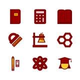 Icône d'appartement et de pixel réglée pour l'éducation Photographie stock libre de droits