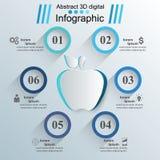 Icône d'Apple 3D illustration numérique abstraite Infographic Images stock