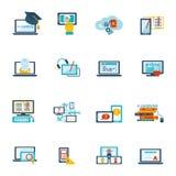 Icône d'apprentissage en ligne plate Photo stock