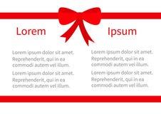 Icône d'arc de Noël de ruban de deux rouges Ensemble d'élément de décoration de boîte-cadeau Calibre de vue avec le texte Concept Image stock
