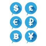 Icône d'argent - bleu de symbole monétaire Image stock