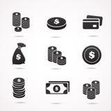 Icône d'argent réglée sur le fond blanc Image stock