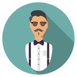 Icône d'avatar de hippie Style plat moderne photos stock