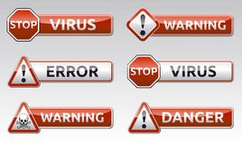 Icône d'avertissement de virus de danger Image stock
