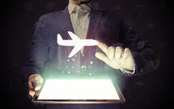 Icône d'avions, concept de voyage Photographie stock libre de droits