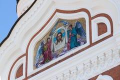 Icône d'or de mosaïque sur la cathédrale à Tallinn, Estonie Photographie stock