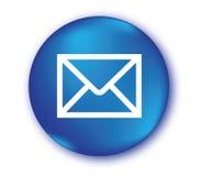 Icône d'email avec le bouton bleu Images stock