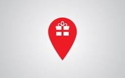Icône d'emplacement de marqueur avec le boîte-cadeau Photo stock