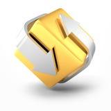 Icône d'or et argentée de concept d'affaires de flèches illustration de vecteur