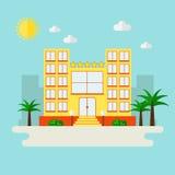 Icône d'hôtel sur le paysage de ville Photo libre de droits