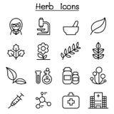 Icône d'herbe réglée dans la ligne style mince Images stock