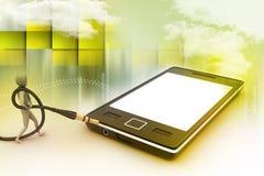 Icône d'homme à un téléphone intelligent Photo stock
