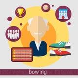 Icône d'homme supérieur de joueur de jeu de bowling illustration libre de droits