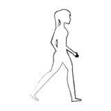 icône d'isolement de marche de personne Image libre de droits