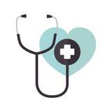 Icône d'isolement médicale de stéthoscope Images stock