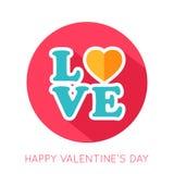 Icône d'isolement par appartement de jour de valentines Images libres de droits