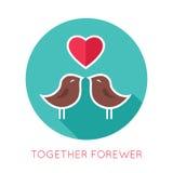 Icône d'isolement par appartement de jour de valentines Ensemble Images libres de droits