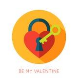 Icône d'isolement par appartement de jour de valentines Soyez mon Valentine Images libres de droits