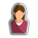 icône d'isolement par caractère d'avatar de femme Photographie stock libre de droits