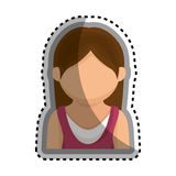 icône d'isolement par caractère d'avatar de femme Photos stock