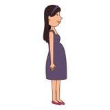 Icône d'isolement par caractère d'avatar de grossesse de femme Images stock