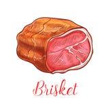 Icône d'isolement par croquis de vecteur de viande de lard de poitrine illustration libre de droits