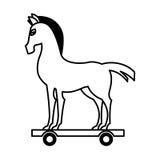 icône d'isolement par silhouette de Trojan Horse Image stock