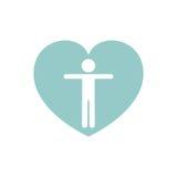 icône d'isolement par soin de coeur Images stock