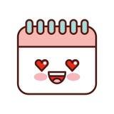 Icône d'isolement par style de kawaii de rappel de calendrier Image stock