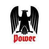 Icône d'isolement par vecteur noir héraldique impérial d'aigle Images libres de droits