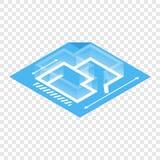 Icône 3d isométrique de plan architectural Image stock