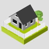 Icône 3D isométrique Les pictogrammes logent avec une barrière blanche et des arbres Écran protecteur Photographie stock libre de droits
