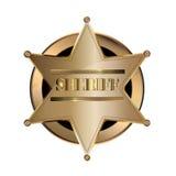 Icône d'or métallique de Badge Emblem Vector de shérif Image libre de droits