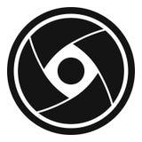 Icône d'objectif de caméra, style simple Photographie stock