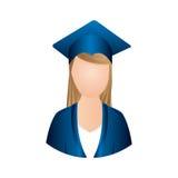 icône d'obtention du diplôme de femme de couleur Photos libres de droits