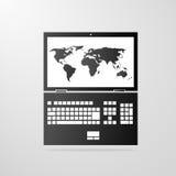 Icône d'ordinateur portable avec le vecteur de gris de carte du monde Photos libres de droits