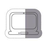 icône d'ordinateur portable de technologie de silhouette d'autocollant plate Image stock