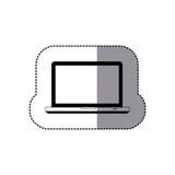 icône d'ordinateur portable de technologie de vue de face de silhouette d'autocollant Image stock