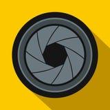 Icône d'ouverture d'appareil-photo dans le style plat illustration stock