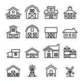 Icône de bâtiment de grange et de ferme dans la ligne style mince Photo stock