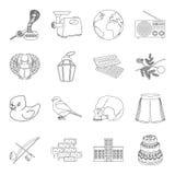 Icône de bâtiment, de sports, de cuisson et autre de Web dans le style d'ensemble histoire, l'espace, icônes d'éducation dans la  Photos libres de droits