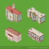 Icône de bâtiments de ville réglée : école, université, bibliothèque illustration de vecteur