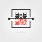 Icône de balayage de Qr avec l'ombre illustration stock