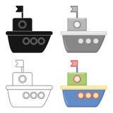 Icône de bande dessinée de bateau Illustration pour le Web et la conception mobile Photographie stock